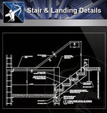 【Free Stair Details】Stair and Landing Detail - Architecture Autocad Blocks,CAD Details,CAD Drawings,3D Models,PSD,Vector,Sketchup Download