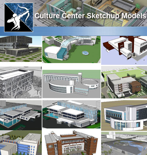 ★Sketchup 3D Models-15 Types of Culture Center Sketchup Models - Architecture Autocad Blocks,CAD Details,CAD Drawings,3D Models,PSD,Vector,Sketchup Download