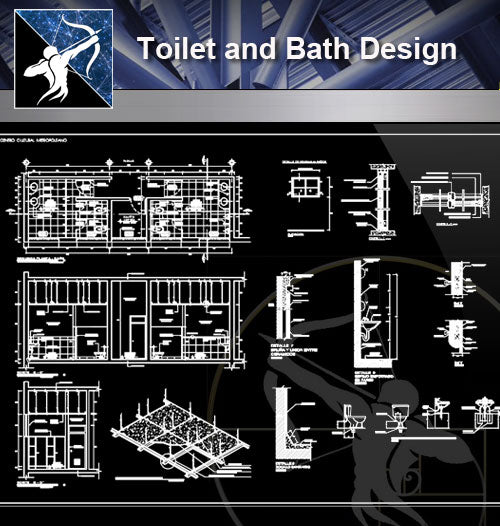 【Sanitations Details】Toilet and Bath Design - Architecture Autocad Blocks,CAD Details,CAD Drawings,3D Models,PSD,Vector,Sketchup Download