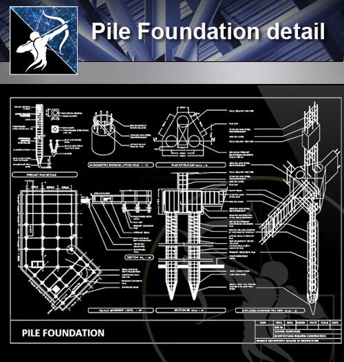 【Foundation Details】Pile Foundation detail - Architecture Autocad Blocks,CAD Details,CAD Drawings,3D Models,PSD,Vector,Sketchup Download