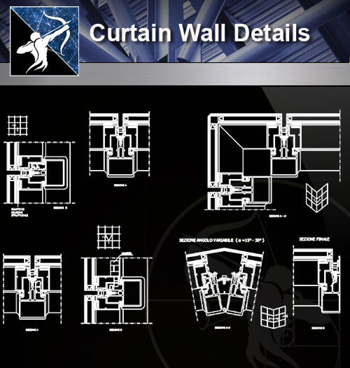 【Free Window Details】Curtain Wall Details - Architecture Autocad Blocks,CAD Details,CAD Drawings,3D Models,PSD,Vector,Sketchup Download