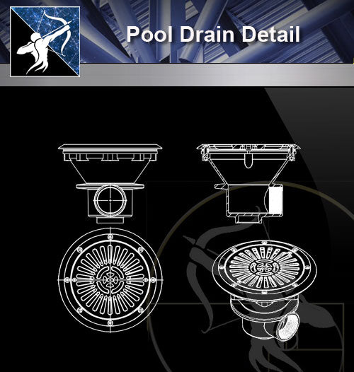 【Sanitations Details】Pool Drain detail - Architecture Autocad Blocks,CAD Details,CAD Drawings,3D Models,PSD,Vector,Sketchup Download
