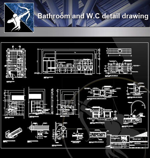 【Sanitations Details】Bathroom and W.C detail drawing - Architecture Autocad Blocks,CAD Details,CAD Drawings,3D Models,PSD,Vector,Sketchup Download