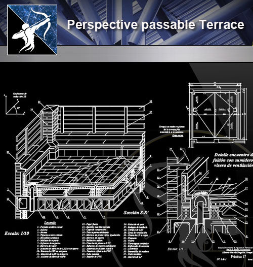 【Architecture Details】Perspective passable Terrace - Architecture Autocad Blocks,CAD Details,CAD Drawings,3D Models,PSD,Vector,Sketchup Download