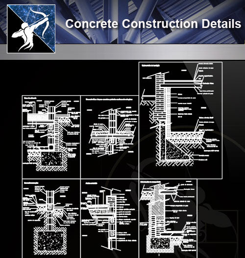 【Concrete Details】Details of constructive sections concrete blocks design drawing