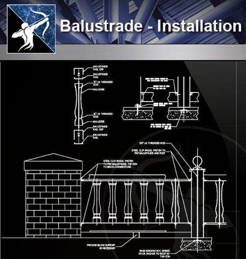 【Free Handrail Details】Balustrade - Installation Detail - Architecture Autocad Blocks,CAD Details,CAD Drawings,3D Models,PSD,Vector,Sketchup Download
