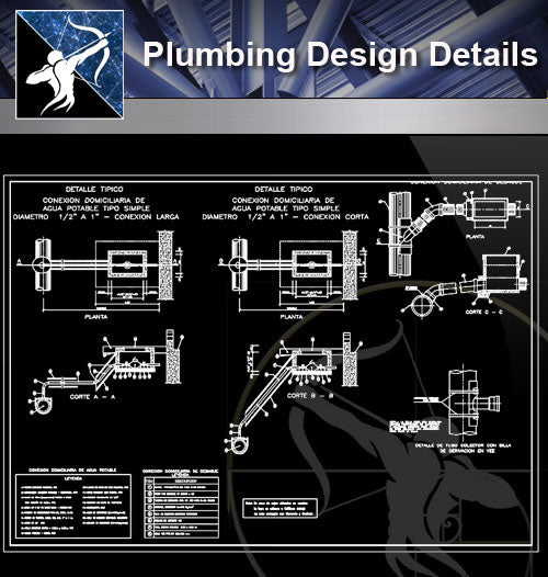 【Sanitations Details】Plumbing Design - Architecture Autocad Blocks,CAD Details,CAD Drawings,3D Models,PSD,Vector,Sketchup Download