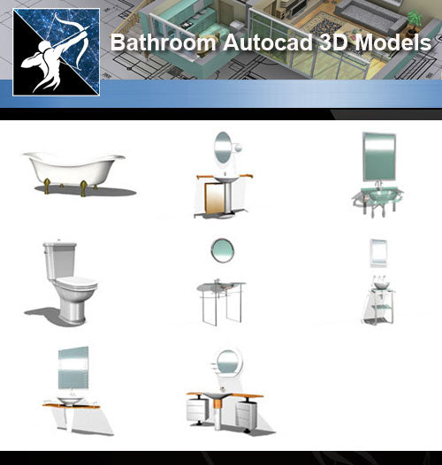 ★AutoCAD 3D Models-Bathroom Autocad 3D Models - Architecture Autocad Blocks,CAD Details,CAD Drawings,3D Models,PSD,Vector,Sketchup Download