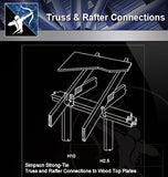 【Free Steel Structure Details】Truss @ Rafter Connections - Architecture Autocad Blocks,CAD Details,CAD Drawings,3D Models,PSD,Vector,Sketchup Download
