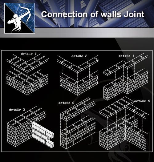 【Concrete Details】Connection of walls Joint - Architecture Autocad Blocks,CAD Details,CAD Drawings,3D Models,PSD,Vector,Sketchup Download