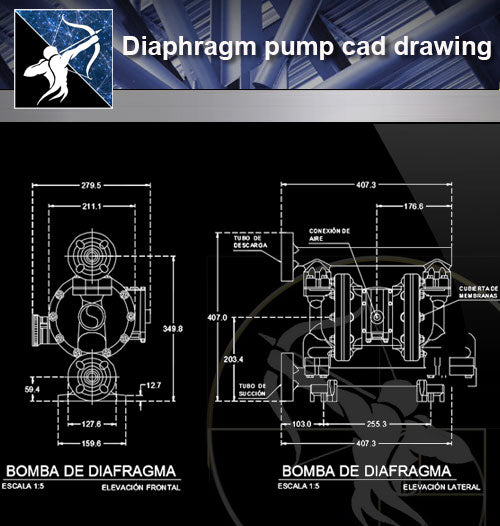 【Sanitations Details】Diaphragm pump cad drawing - Architecture Autocad Blocks,CAD Details,CAD Drawings,3D Models,PSD,Vector,Sketchup Download