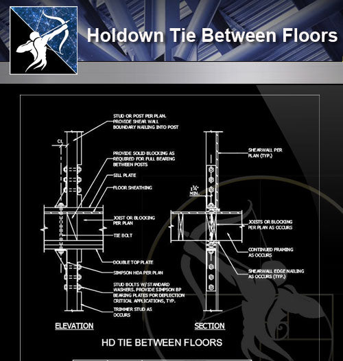 【Free Architecture Details】Holdown Tie Between Floors - Architecture Autocad Blocks,CAD Details,CAD Drawings,3D Models,PSD,Vector,Sketchup Download