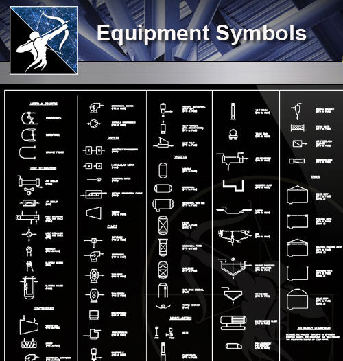 【Free Symbols CAD Blocks】Equipment Symbols - Architecture Autocad Blocks,CAD Details,CAD Drawings,3D Models,PSD,Vector,Sketchup Download