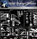 【Stair Details】Stair Design Details - Architecture Autocad Blocks,CAD Details,CAD Drawings,3D Models,PSD,Vector,Sketchup Download