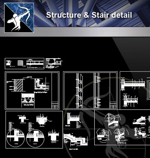 【Architecture Details】Structure & Stair detail - Architecture Autocad Blocks,CAD Details,CAD Drawings,3D Models,PSD,Vector,Sketchup Download