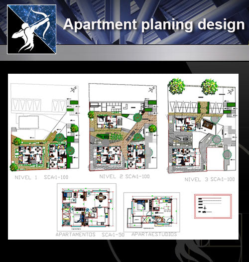 【Architecture Details】 Apartment planing design drawing