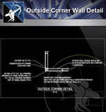 【Free Architecture Details】Outside Corner Wall Detail - Architecture Autocad Blocks,CAD Details,CAD Drawings,3D Models,PSD,Vector,Sketchup Download