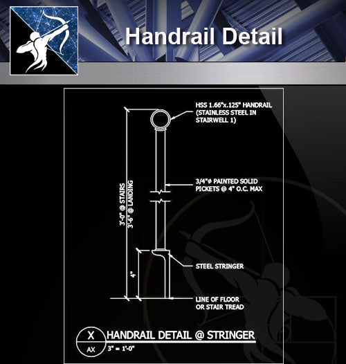 【Free Handrail Details】Handrail Detail 2 - Architecture Autocad Blocks,CAD Details,CAD Drawings,3D Models,PSD,Vector,Sketchup Download