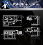 【Sanitations Details】Water Supply Station - Architecture Autocad Blocks,CAD Details,CAD Drawings,3D Models,PSD,Vector,Sketchup Download