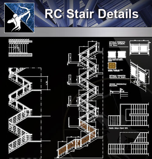 【Stair Details】RC Stair Details - Architecture Autocad Blocks,CAD Details,CAD Drawings,3D Models,PSD,Vector,Sketchup Download
