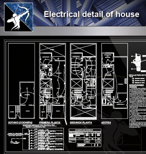 【Electrical Details】Electrical detail of house - Architecture Autocad Blocks,CAD Details,CAD Drawings,3D Models,PSD,Vector,Sketchup Download