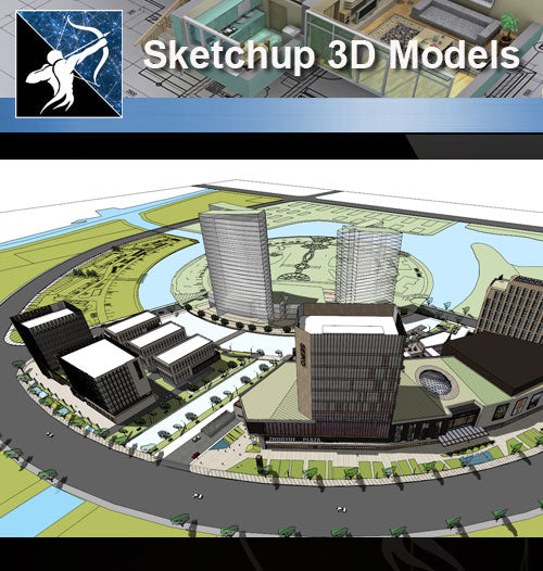 ★Sketchup 3D Models-Business Building Sketchup Models 23 - Architecture Autocad Blocks,CAD Details,CAD Drawings,3D Models,PSD,Vector,Sketchup Download