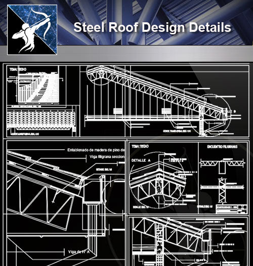 【Steel Structure Details】Steel Roof Design - Architecture Autocad Blocks,CAD Details,CAD Drawings,3D Models,PSD,Vector,Sketchup Download