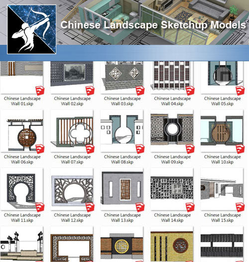 ★Sketchup 3D Models-Chinese Landscape Wall Sketchup Models - Architecture Autocad Blocks,CAD Details,CAD Drawings,3D Models,PSD,Vector,Sketchup Download