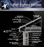 【Wall Details】Wall Footing Section - Architecture Autocad Blocks,CAD Details,CAD Drawings,3D Models,PSD,Vector,Sketchup Download