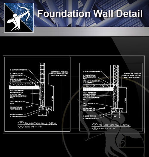 【Free Foundation Details】Foundation Wall Detail - Architecture Autocad Blocks,CAD Details,CAD Drawings,3D Models,PSD,Vector,Sketchup Download