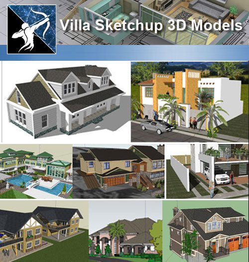 ★Sketchup 3D Models-13 Types os Villa Sketchup 3D Models - Architecture Autocad Blocks,CAD Details,CAD Drawings,3D Models,PSD,Vector,Sketchup Download