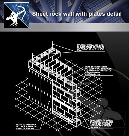 【Architecture Details】Sheet rock wall with plates detail - Architecture Autocad Blocks,CAD Details,CAD Drawings,3D Models,PSD,Vector,Sketchup Download
