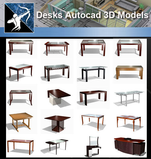 ★AutoCAD 3D Models-Desks Autocad 3D Models - Architecture Autocad Blocks,CAD Details,CAD Drawings,3D Models,PSD,Vector,Sketchup Download