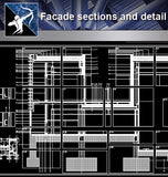 【Architecture Details】Facade sections and detail - Architecture Autocad Blocks,CAD Details,CAD Drawings,3D Models,PSD,Vector,Sketchup Download