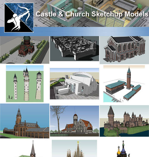 ★Sketchup 3D Models-Castle and Church Sketchup Models - Architecture Autocad Blocks,CAD Details,CAD Drawings,3D Models,PSD,Vector,Sketchup Download