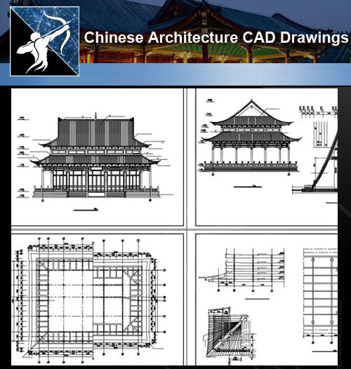 ★Chinese Architecture CAD Drawings-Grand Hall-Chinese Temple