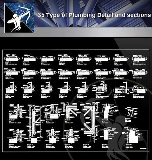 【Sanitations Details】35 Type of Plumbing Detail and sections - Architecture Autocad Blocks,CAD Details,CAD Drawings,3D Models,PSD,Vector,Sketchup Download