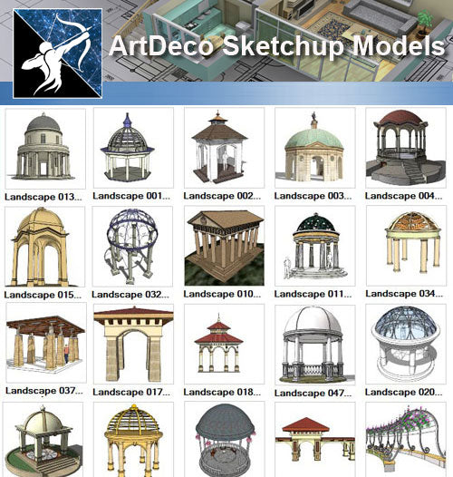 ★Sketchup 3D Models-Landscape Pavilion Sketchup Models - Architecture Autocad Blocks,CAD Details,CAD Drawings,3D Models,PSD,Vector,Sketchup Download