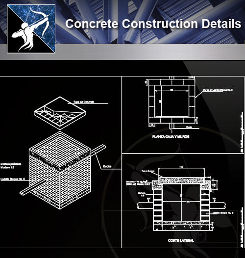 【Concrete Details】Construction detail of box paso electric under ground - Architecture Autocad Blocks,CAD Details,CAD Drawings,3D Models,PSD,Vector,Sketchup Download