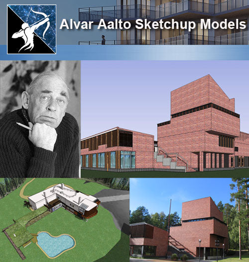 ★Famous Architecture -Alvar Aalto Sketchup 3D Models - Architecture Autocad Blocks,CAD Details,CAD Drawings,3D Models,PSD,Vector,Sketchup Download