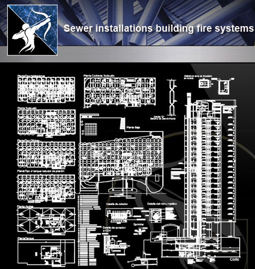 【Architecture Details】Sewer installations building fire systems - Architecture Autocad Blocks,CAD Details,CAD Drawings,3D Models,PSD,Vector,Sketchup Download