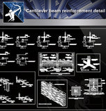 【Concrete Details】Cantilever beam reinforcement detail - Architecture Autocad Blocks,CAD Details,CAD Drawings,3D Models,PSD,Vector,Sketchup Download