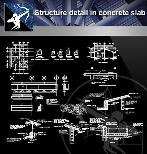 【Architecture Details】Structure detail in concrete slab - Architecture Autocad Blocks,CAD Details,CAD Drawings,3D Models,PSD,Vector,Sketchup Download