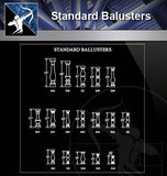 【Free Handrail Details】Standard Balusters - Architecture Autocad Blocks,CAD Details,CAD Drawings,3D Models,PSD,Vector,Sketchup Download