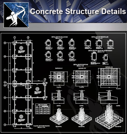 【Concrete Details】Concrete Structure Details - Architecture Autocad Blocks,CAD Details,CAD Drawings,3D Models,PSD,Vector,Sketchup Download