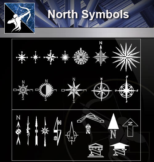 【Free Symbols CAD Blocks】North Symbols - Architecture Autocad Blocks,CAD Details,CAD Drawings,3D Models,PSD,Vector,Sketchup Download