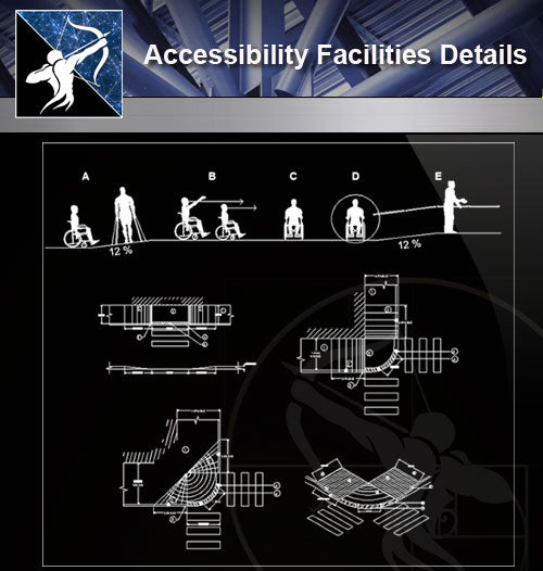 【Free Accessibility Facilities Details】Accessibility Facilities CAD Details 1