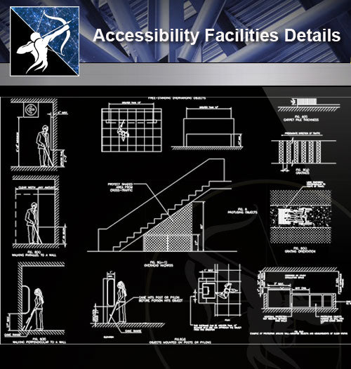 【Accessibility Facilities Details】Accessibility Facilities Details 2 - Architecture Autocad Blocks,CAD Details,CAD Drawings,3D Models,PSD,Vector,Sketchup Download