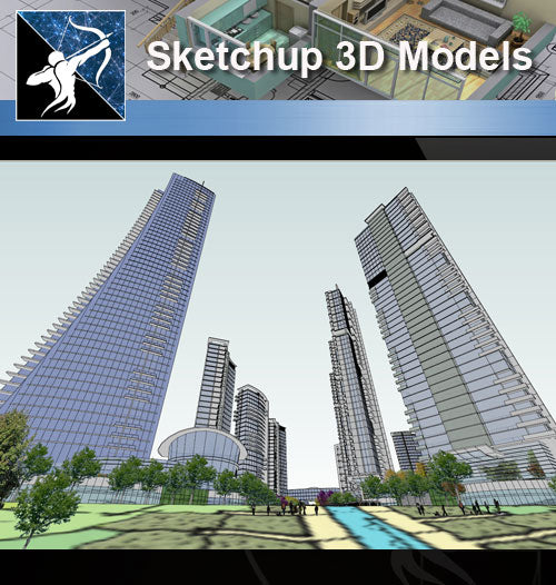 ★Sketchup 3D Models-Business Building Sketchup Models 5 - Architecture Autocad Blocks,CAD Details,CAD Drawings,3D Models,PSD,Vector,Sketchup Download