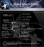 【Free Curtain Wall Details】Glass Block Detail - Architecture Autocad Blocks,CAD Details,CAD Drawings,3D Models,PSD,Vector,Sketchup Download